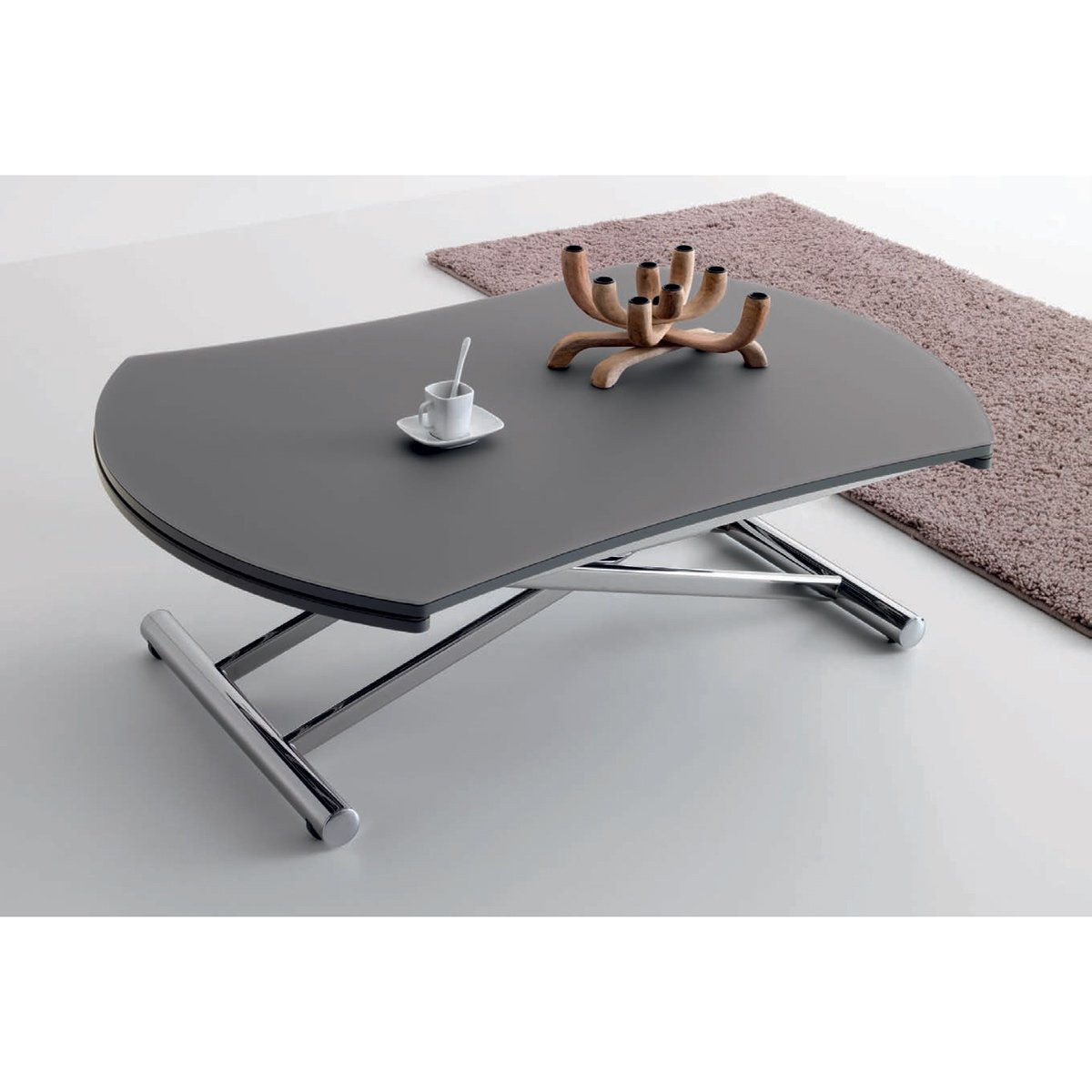 Table basse relevable ronde nice verre opaque meubles - Table basse relevable ronde ...