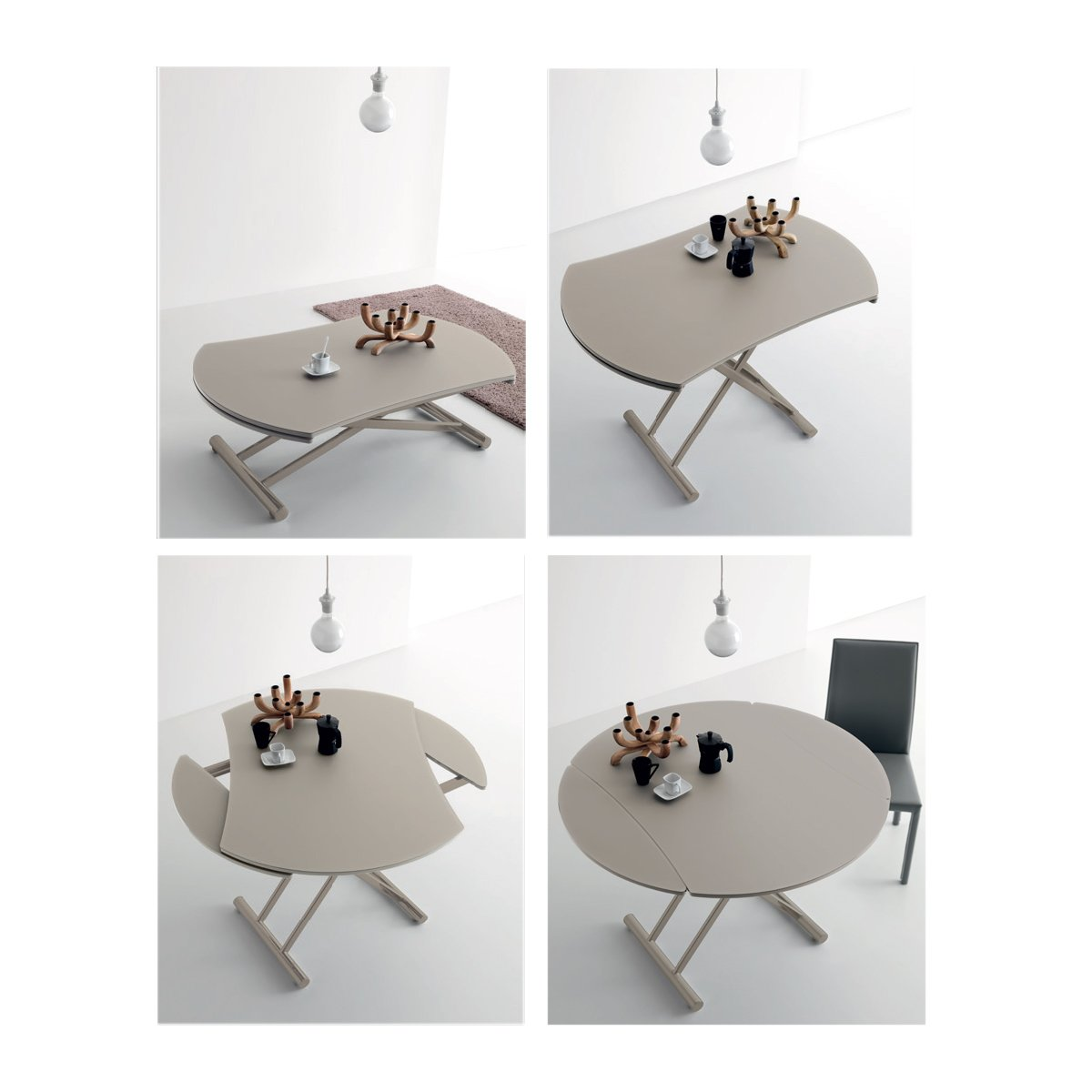 Table basse relevable ronde nice verre opaque meubles et atmosph re - Table de salon plateau relevable ...