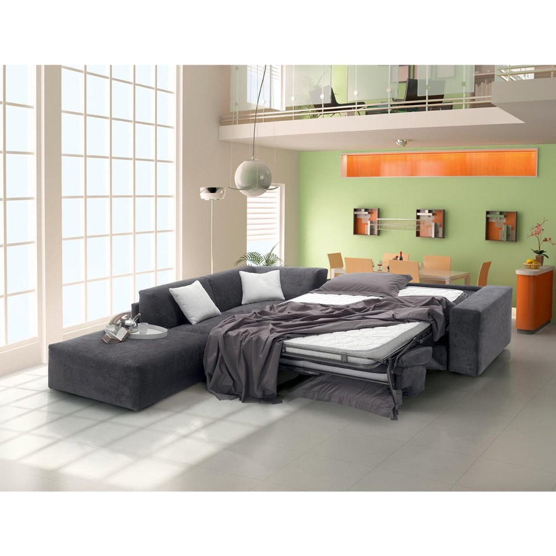 Canap d 39 angle convertible gris meubles et atmosph re Canape d angle but