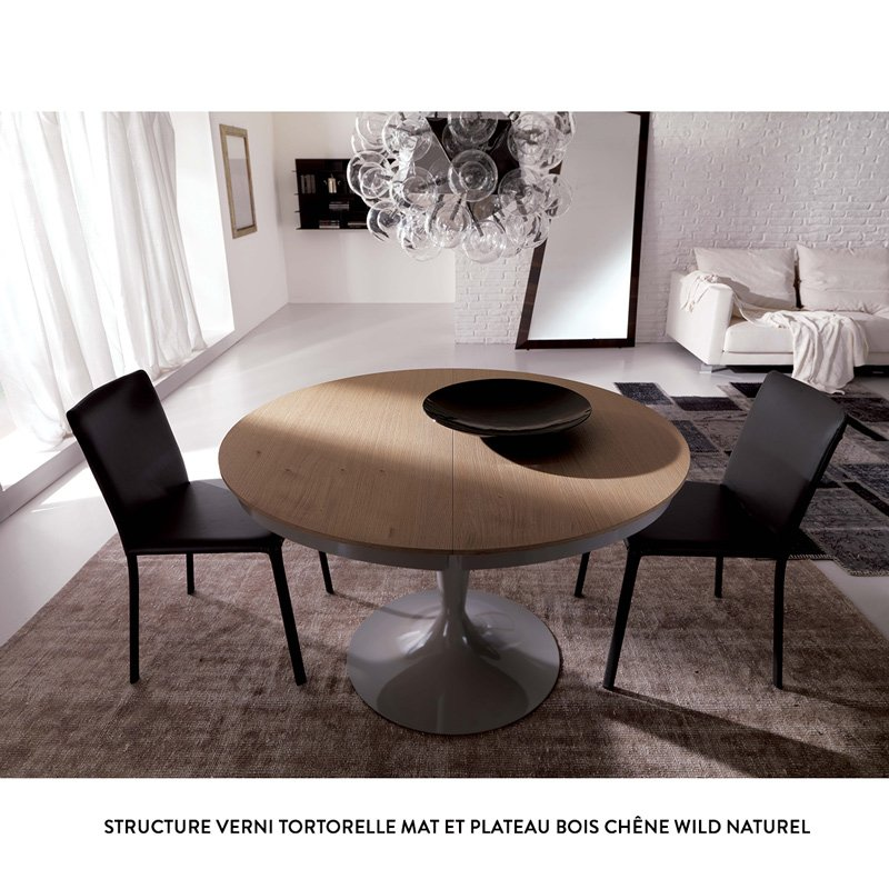 table ronde extensible eclipse bois meubles et atmosph re. Black Bedroom Furniture Sets. Home Design Ideas