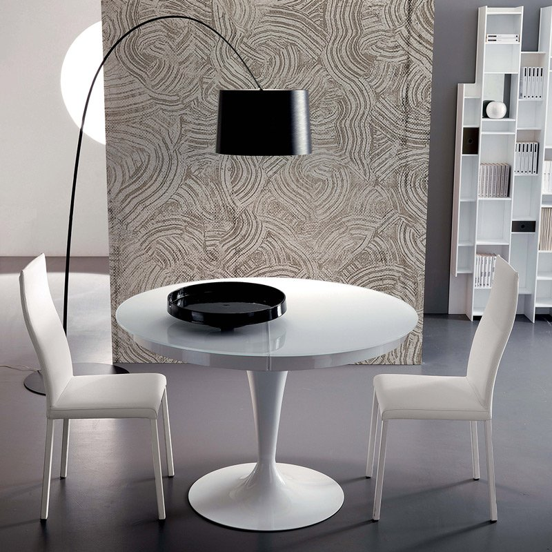 Table ronde extensible eclipse verre meubles et atmosph re for Meuble table ronde extensible