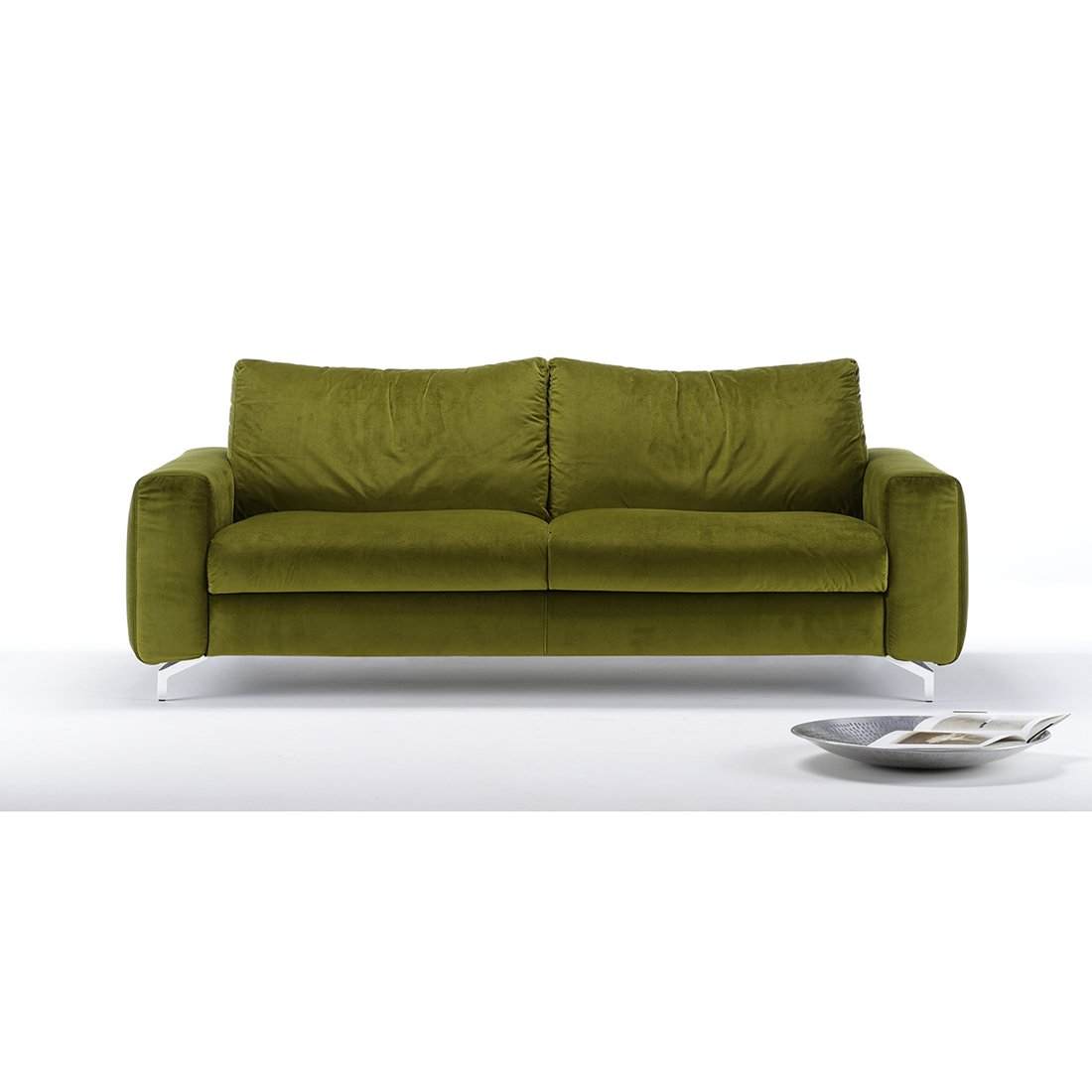 Canap velours convertible clarence meubles et atmosph re - Canape convertible vert ...
