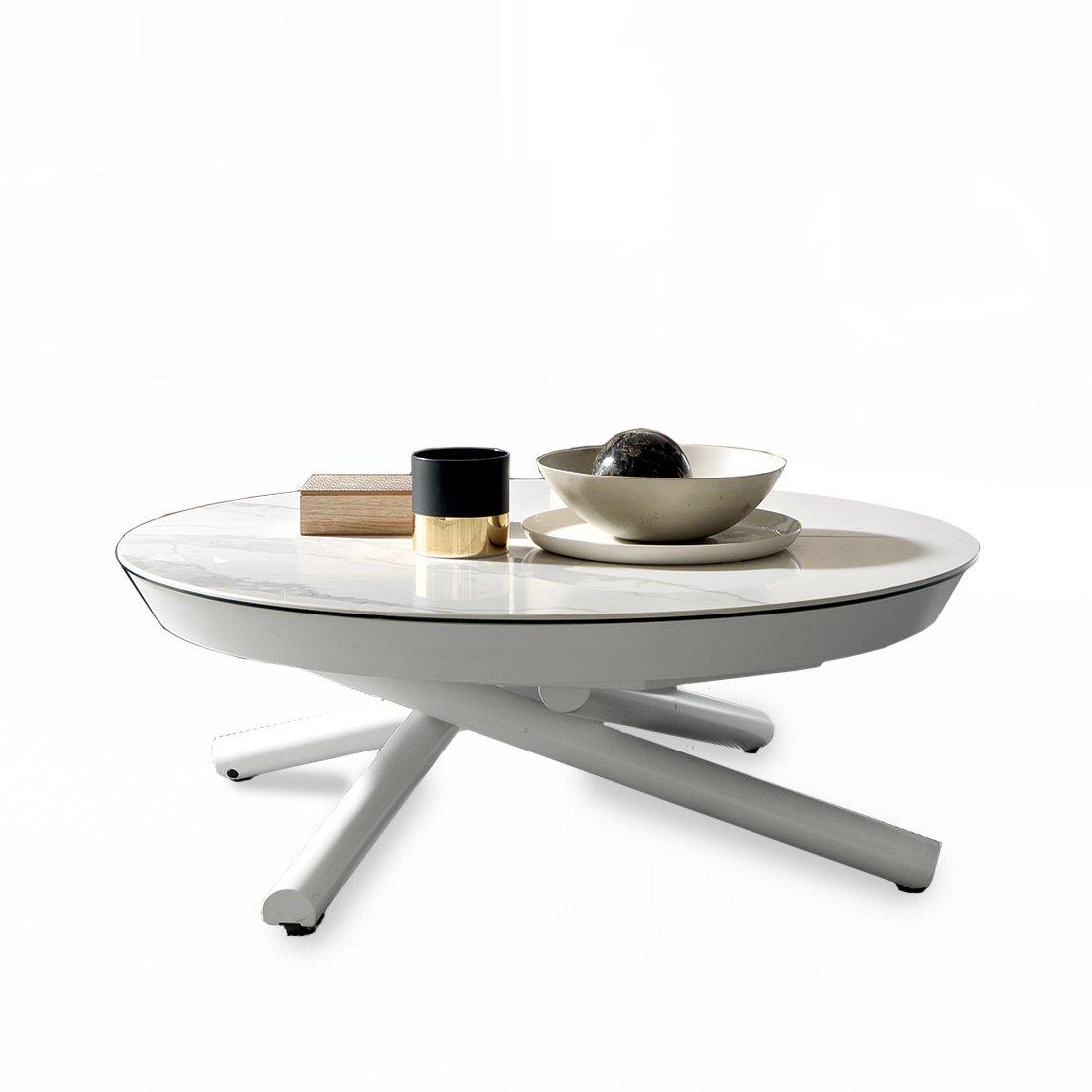Table basse relevable ronde phebus meubles et atmosph re - Table salon dessus ceramique ...