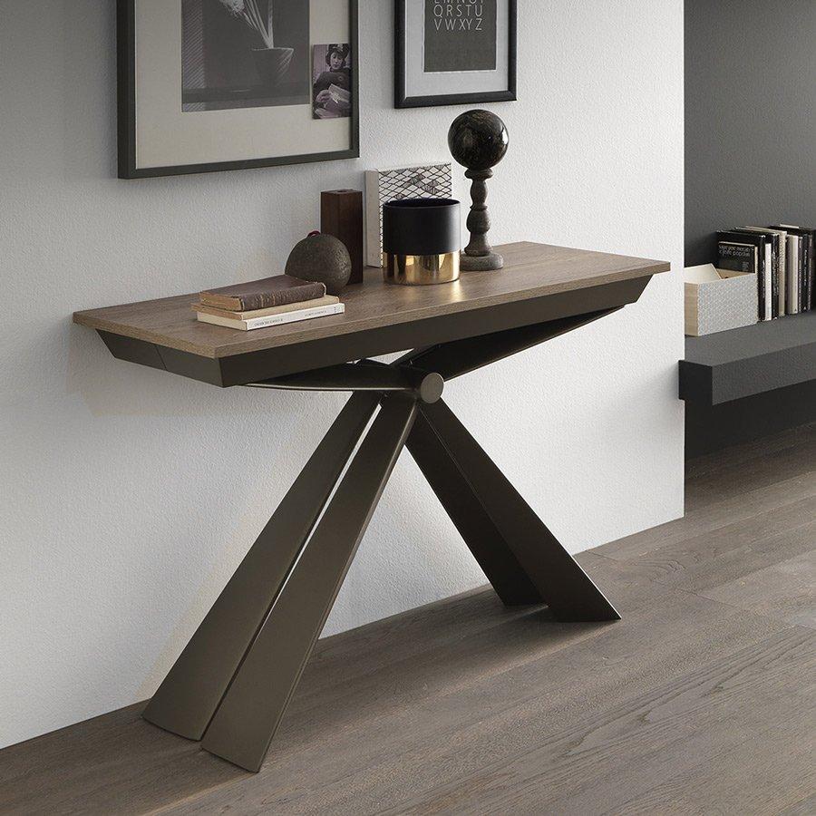Table Bois Metal Design: Console Extensible Design Bois Métal